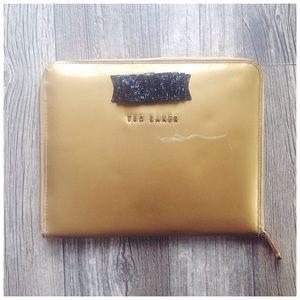 Ted Baker Glitter Bow Gold IPad Zipper Clutch Case